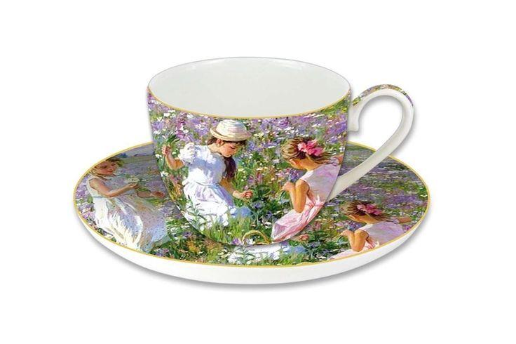 Чашка с блюдцем из костяного фарфора «Девочки на лугу» в подарочной упаковке      Бренд: Carmani (Польша);   Страна производства: Польша;   Материал: костяной фарфор;   Объем чашки: 280 мл;          #bonechine #chine #diningset #teaset #костяной #фарфор #обеденный #сервиз #посуда  #обеденныйсервиз #чайныйсервиз #чайный  #чашка #кружка #набор #сервировка #cup #mug #set #serving #tea #чай