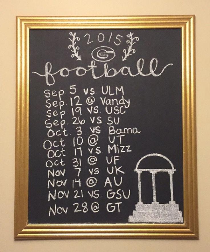 2015 UGA football schedule on chalkboard collegiate football schedule chalkboard chalking Georgia football, bulldogs, dawgs,