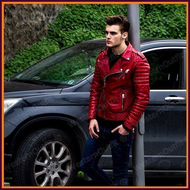 New Men's Genuine Lambskin Leather Jacket Red Slim fit Biker
