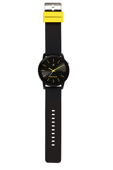 Part of Tees' first colours collection, this large oversized all black watch has contrast provided by the yellow hands and indices on the dial, and yellow loops.
