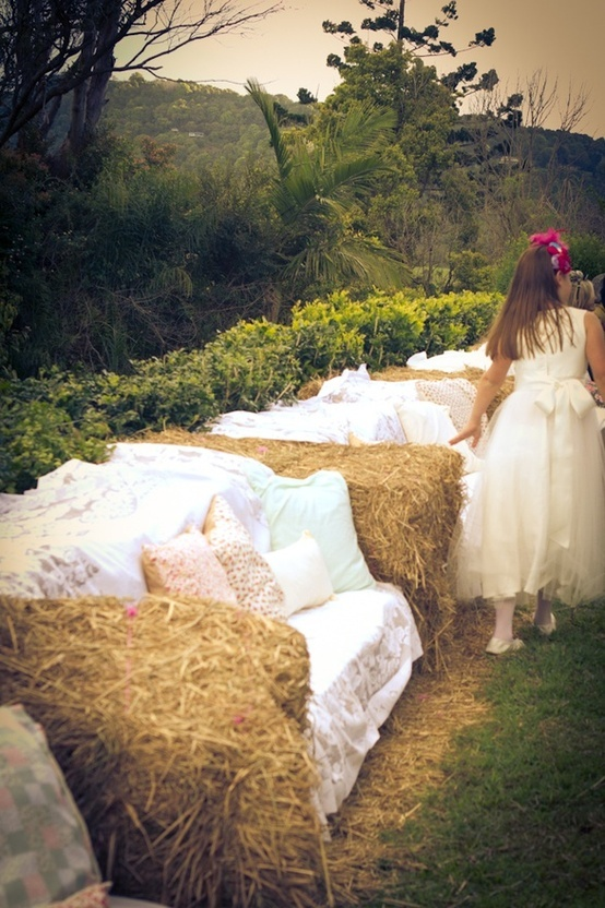 Hay bale seating for the ceremony. Couch style