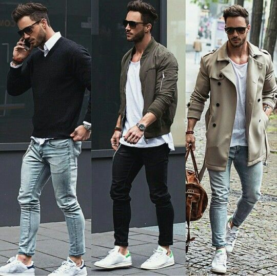 - Adidas Stan Smith - Blaue Jeans ✔️ - Weißes Hemd ✔️ - Schwarzes Sweatshirt✔️  - Adidas Stan Smith - Schwarze Chinohose✔️ - Weißes T-Shirt✔️ - Grüne Bomberjacke✔️  - Adidas Stan Smith  - Blaue Jeans✔️ - Weißes T-Shirt✔️ - Mantel