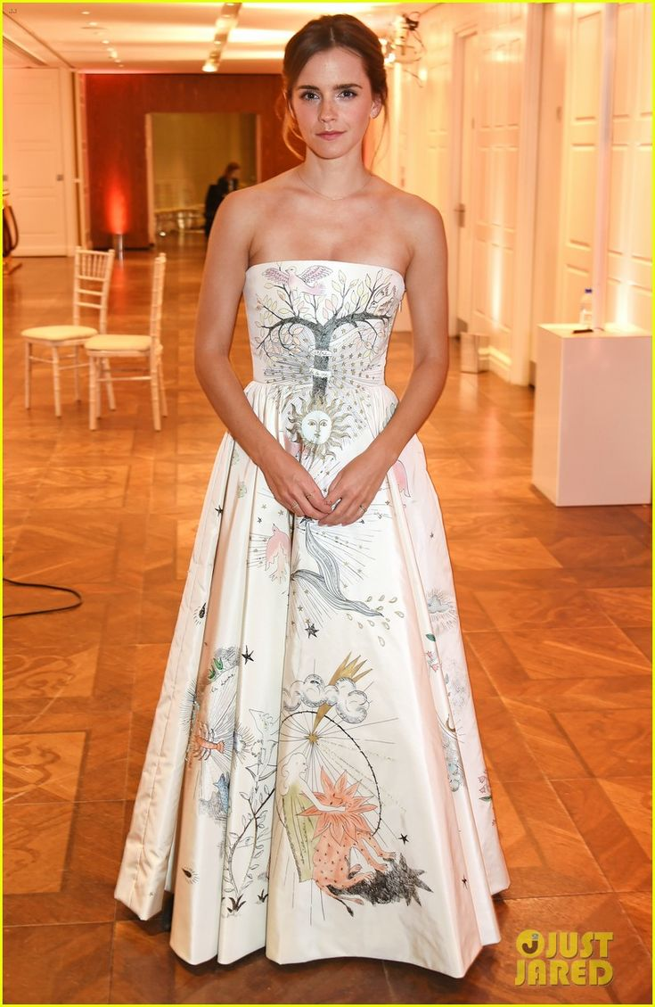 "Emma Watson at the 2017 Elle Style Awards after party, (February 13) in London, England.  The 26-year-old actress looked stunning in a Dior Haute Couture ""tarot"" ecru silk taffeta dress with hand-painted and embroidered tarot motifs."