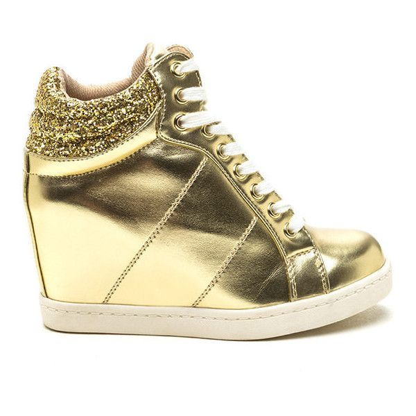 Sparkling Luxe Metallic Wedge Sneakers GOLD ($34) ❤ liked on Polyvore featuring shoes, sneakers, metal, gold shoes, lace up wedge sneakers, gold sparkle sneakers, wedges shoes and wedge heel sneakers