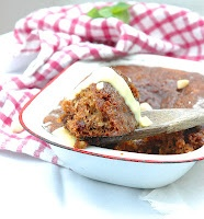 Malva pudding with dates and pecan nuts. A very popular winter dessert, although I don't know anyone who would turn it down on a hot day