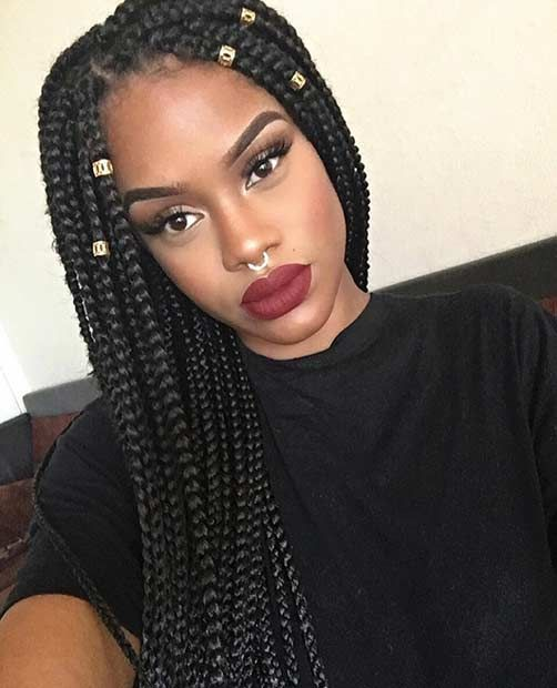 Long Box Braids with Golden Cuffs