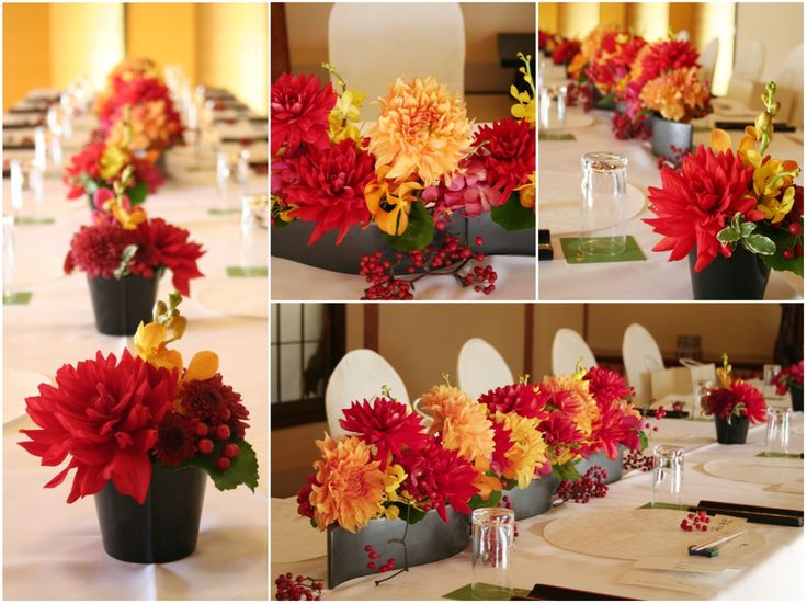朱赤やオレンジなど華やかな大輪のダリアを使った、和の会場装花。 器は漆を思わせるような艶のある黒い陶器を使用することでお花を引き立たせ、全体をきりっと引き締めています。[ 浅草 茶寮一松様 ] ◆ ◆ kukka design ◆◆ 東京・三軒茶屋にあるウェディングフラワーのオーダーメイドアトリエ www.kukka-flowers.com