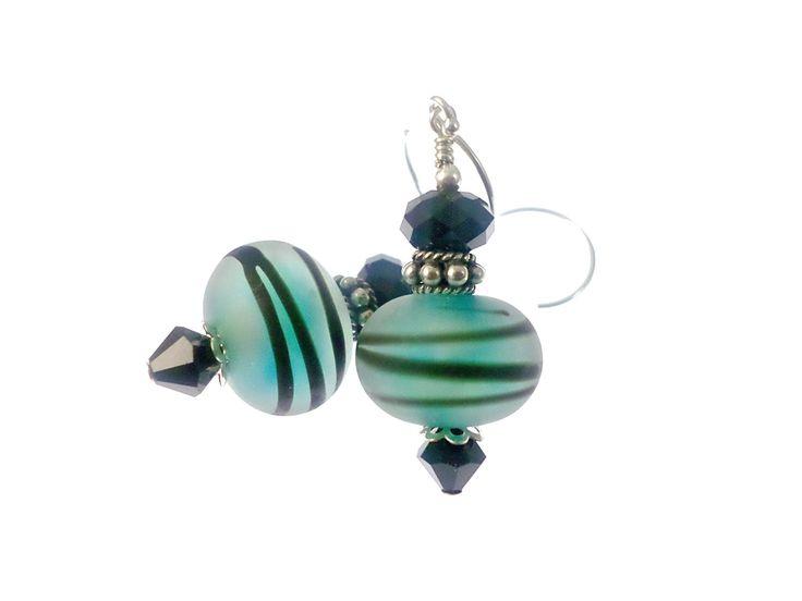 Teal Lampwork Earrings, Glass Bead Earrings, Mod Stripe Earrings, Lampwork Jewelry, Beaded Earrings, Beadwork Earrings #casualearrings #lampworkjewelry #handmadejewelry #lampworkearrings #earrings #handmadeearrings #beadedjewelry #giftidea #artisanearrings #dropearrings #giftforher #giftformom