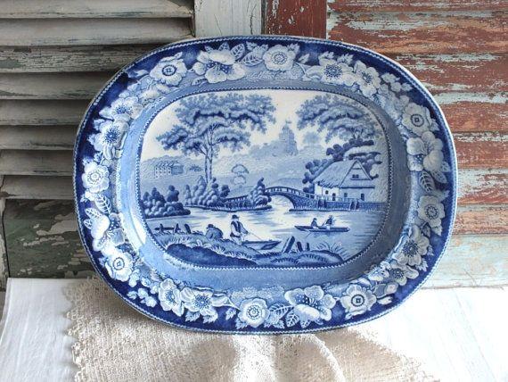 Blue+Transferware+English+Victorian+Platter+by+AVintageObsession,+$195.00