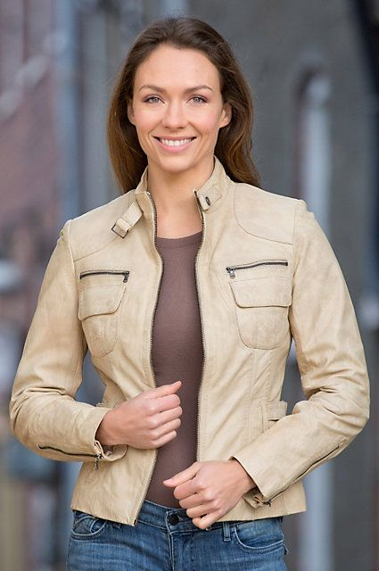 Lots of pockets and lots of style in this contemporary waxed Lambskin Leather Jacket which adjusts at the waist to accentuate your curves. Free shipping + returns.