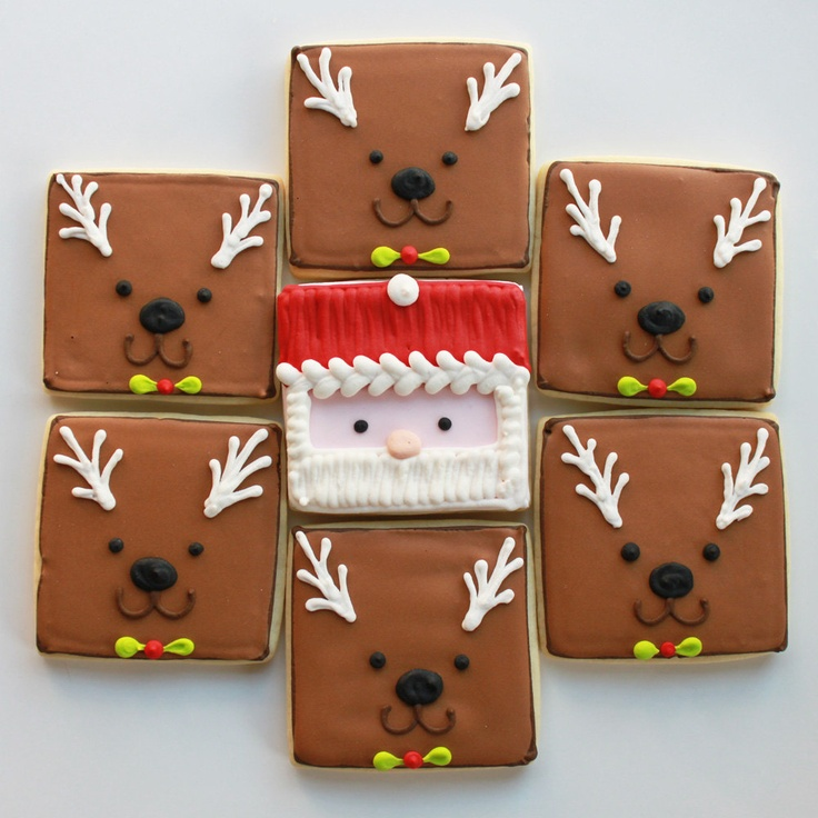 A Very Square-y Christmas Holiday Gift Set (Vanilla) 10 cookies - MADE TO ORDER. $45.00, via Etsy.