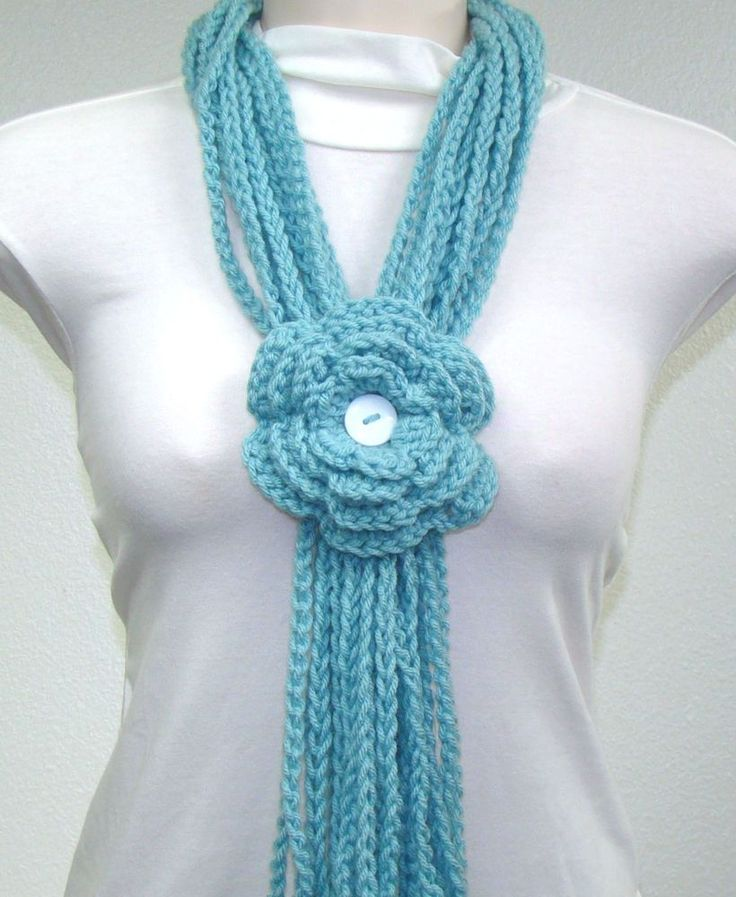 USA HOMEMADE. Sage Lariat Chain Crochet Knit Infinity/Circle Scarf w/Flower #Handmade #Cowl #infinity Available at www.ebay.com/usr/ahappyhook