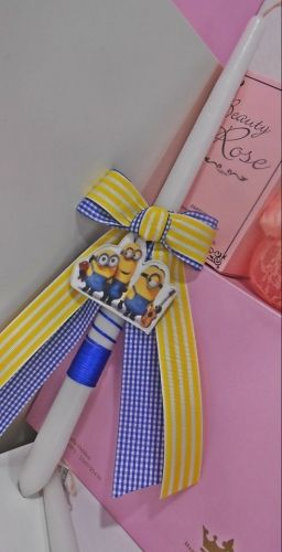 Χειροποίητη λαμπάδα για αγόρια με τα αγαπημένα μας minions.  http://handmadecollectionqueens.com  #handmade   #easter   #candle   #eastergifts   #storiesforqueens