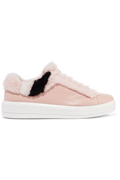 Prada - Shearling-trimmed Leather Sneakers - Blush