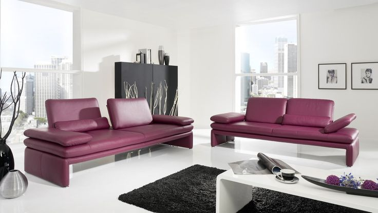 Schillig Sofa Furniture Among Purple Color Design Made From Leather Material under Bright Living Room Interior Decoration Ideas