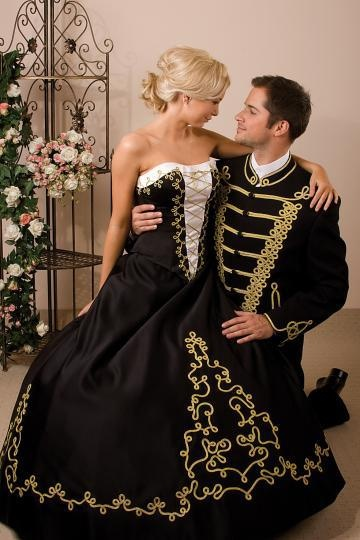 couple in amazing hungarian national court dress