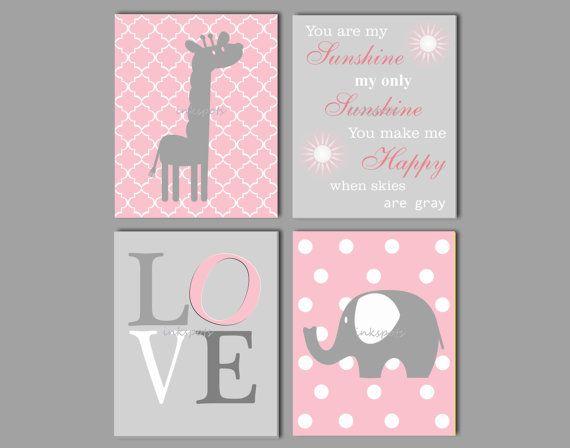 Baby olifant kwekerij, kunst aan de muur olifant, Giraffe kwekerij, You Are My Sunshine, kunst van de olifant, olifant Decor, Kies kleuren GE7505