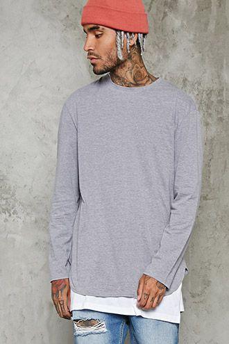 Long-Sleeve Heathered Knit Tee | 21 MEN - 2000232218