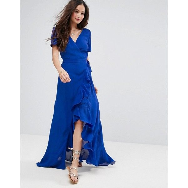 ASOS Maxi Dress With Ruffle Detail and Open Back (89 AUD) ❤ liked on Polyvore featuring dresses, blue, maxi dresses, tall maxi dresses, maxi prom dresses, blue prom dresses and ruffle maxi dresses