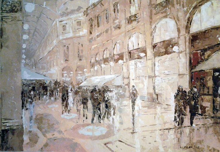 The gallery Vittorio Emanuele, Oil on Canvas Panel, original painting  $80 (in euro)  30 cm x 50 cm