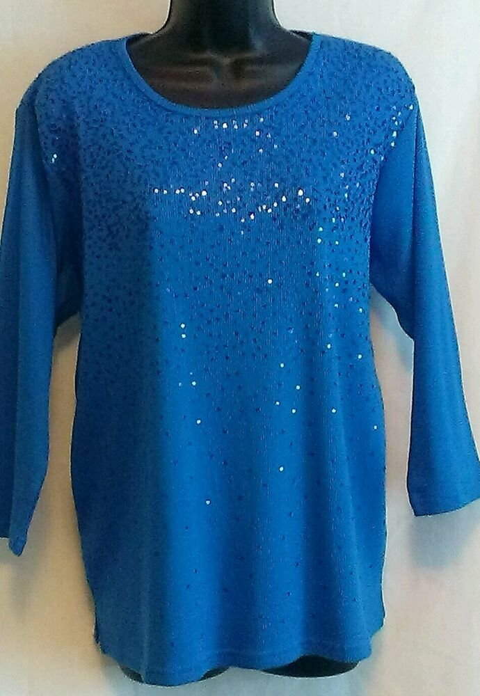 NEW Quacker Factory Women's Top Deep Blue w/Blue Sequins Cotton 3/4