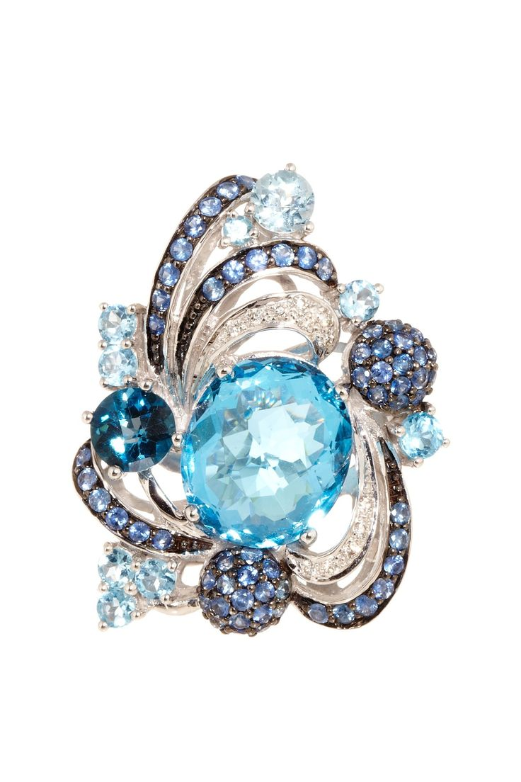 Encore by Le Vian  14K White Gold Blue Topaz, Sapphire & Diamond Ornate Ring  $1,700..unique