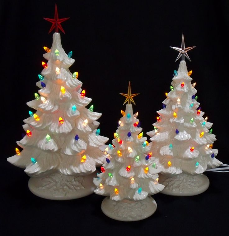 silver bells ceramic white christmas tree collection 3 trees - Ceramic Christmas Trees With Lights