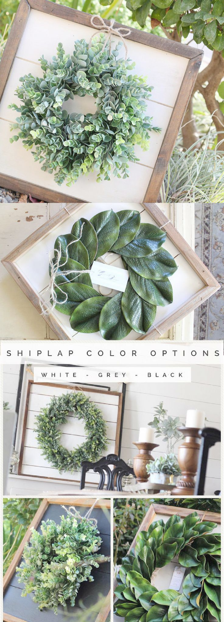 Shiplap Art & Mini Eucalyptus OR Magnolia Wreath – Small 15×15 – Reclaimed Wood – Handmade – Farmhouse – Home Decor – Custom Pieces – Spring – Living …