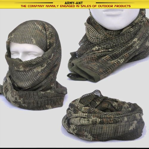 Russian YEGER Woodland Camo Tactical Mesh Scarf Wrap Mask Shemagh Sniper Veil in Collectibles, Militaria, Surplus | eBay