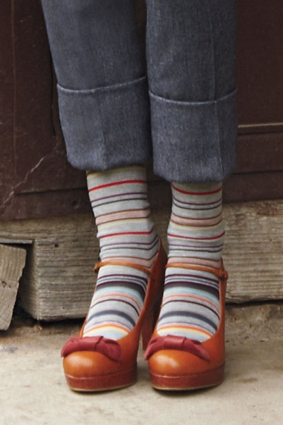striped socks + caramel mary janes- love these shoes