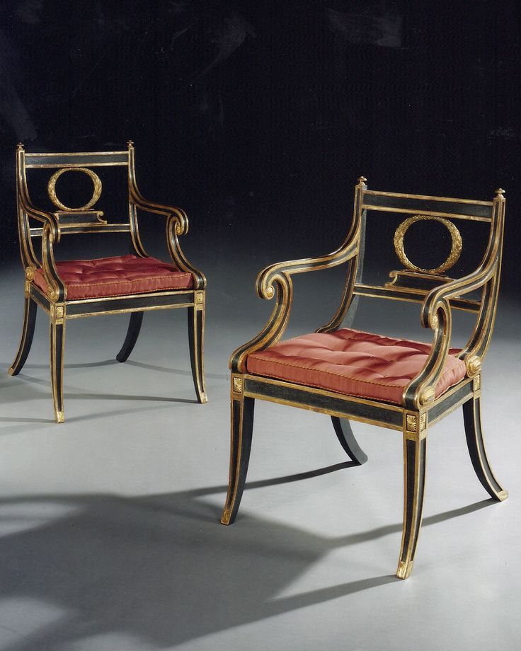 Exceptional A PAIR OF GEORGE 111 REGENCY PERIOD PAINTED AND GILDED ELBOW CHAIRS. By  Henry Holland