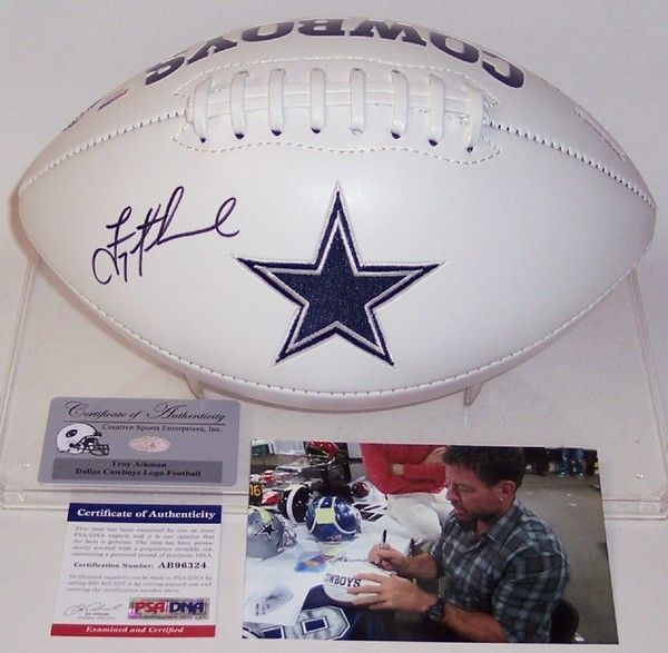 Troy Aikman Autographed Hand Signed Dallas Cowboys Logo Football - PSA/DNA