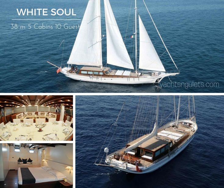Boasting 38 meters of #pureluxury the WHITE SOUL sleeps 10 guests in 5 cabins #turkey #greece #islands #travel #vacation #boatholiday #photooftheday #luxurytravel #luxury #family #gulet #guletcharter #bluecruise #cruise #bluevoyage #miryayachting INQUIRE