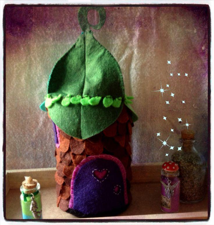 Pinecone fairy house hutch felt, decor for boutique children's rooms  Https://www.etsy.com/shop/StickandOopel