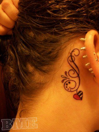 feminine behind-the-ear tattoo. love the placement , the design with heart @ the end. qould want a different heart & somthing to make it personal
