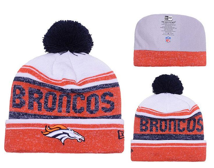 Men's / Women's Denver Broncos New Era 2016 NFL Snow Dayz Knit Pom Pom Beanie Hat - White / Black / Orange