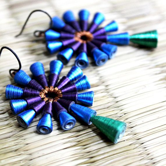 Peacock Earrings First anniversary gift 1st by PaperMelon, $75.00