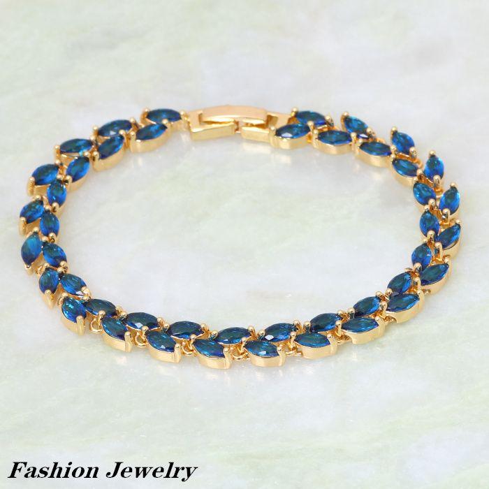 Модные браслеты для женщин Deep Blue CZ камни Кластера 18 К позолоченные Браслеты & браслеты мода ювелирные изделия 18 см 7.08 дюймов B195