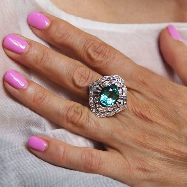 Louis Vuitton Mozambique tourmaline and diamonds one of a kind Conquêtes ring. The central tourmaline is 7.76 carats.