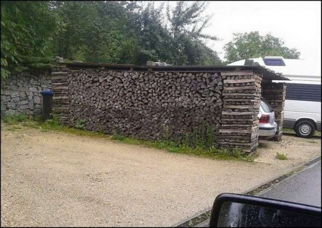 Stack your winter's supply of wood in the drive and park under (in) it