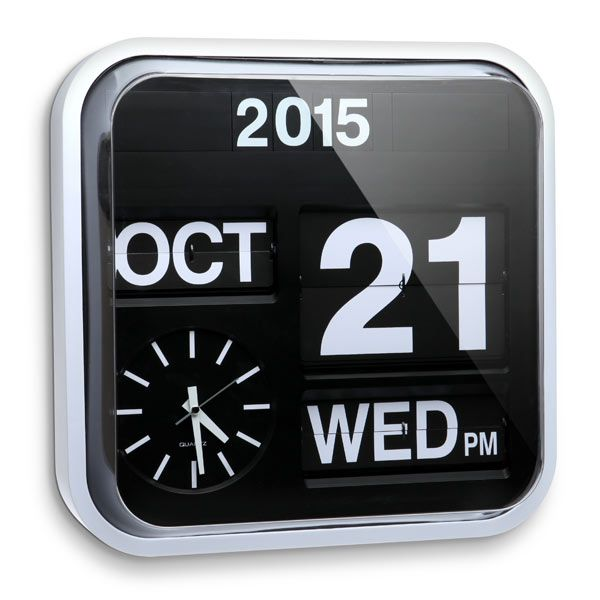 This Giant Flip Clock is large enough that you will always be able to read the time from anywhere in the room. It is a calendar clock that has a flip mechanism.  It is stylish and super useful. You won't be late for anything ever again. This clock includes the year, month, day of week, da