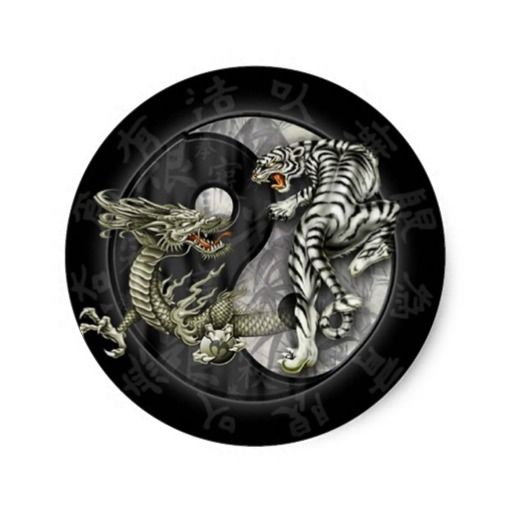 Yin and Yang Dragon Tiger Classic Round Sticker