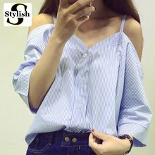 С открытыми плечами блузка рубашка женские новые летние модные Корейский стиль 2017 сладкий Slash шеи топы в полоску Sexy рубашки женская одежда(China (Mainland))
