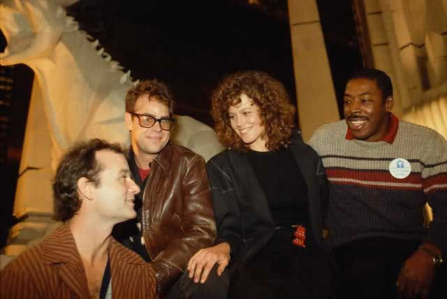 Bill Murray, Dan Aykroyd, Sigourney Weaver and Ernie Hudson on the set of Ghostbusters.