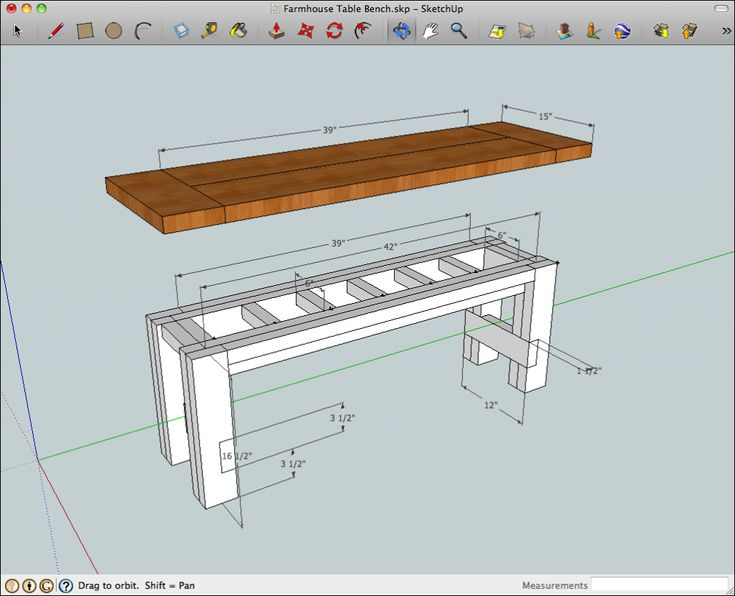 Farmhouse Bench - SketchUp model of the rustic farmhouse table bench with benchtop raised to show the construction and dimensions
