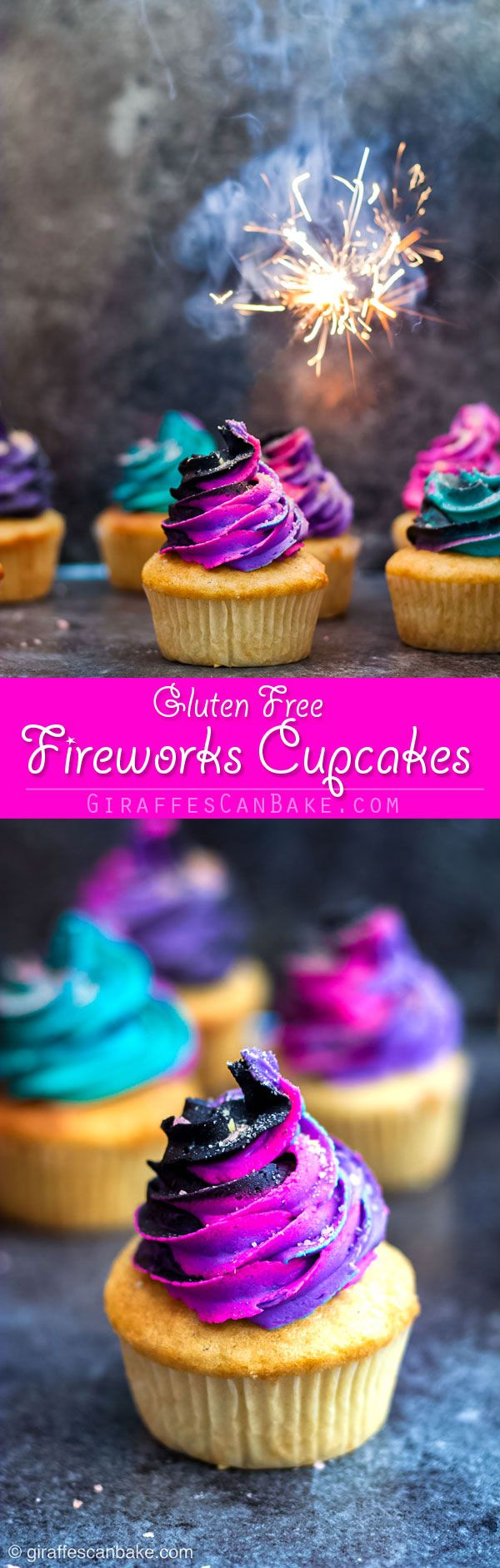 "These Fireworks Cupcakes are an easy and fun way to celebrate Bonfire Night! Gluten Free Vanilla Cupcakes are filled with popping candy, aka ""pop rocks"". And Neon buttercream is swirled with black buttercream to create an awesome fireworks in the night sky look! Sprinkle with more popping candy, and you'll be ooh-ing and ahh-ing through every bite #cupcakes #glutenfree #glutenfreebaking #fireworks #bonfirenight #guyfawkes #newyearseve via @giraffescanbake"