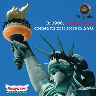 In 1996, Krispy Kreme opened its first store in  NYC