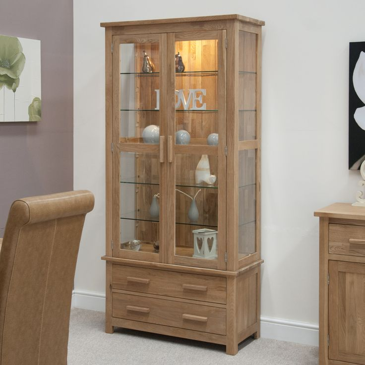 Laminated Wooden Display Cabinet Come With Clear Glass Door Or Side  Together 2 Storage Drawer With