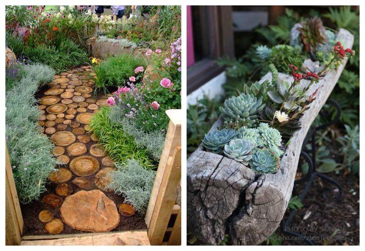 03 decoracion tronco jardin slow deco pinterest for Arreglos de jardines con macetas