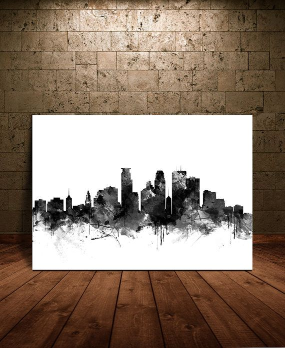 #Minneapolis  #Skyline  #Watercolor  #Print Minneapolis by FineArtCenter